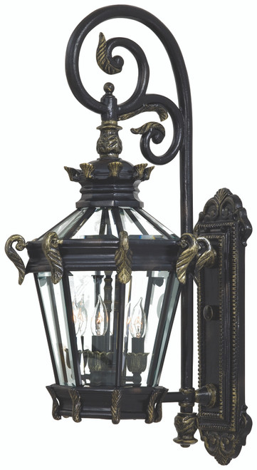 Minka Lavery Stratford Hall 4 Light Outdoor Wall Mount in Heritage With Gold Highlights Finish