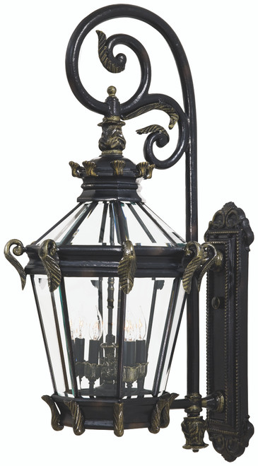 Minka Lavery Stratford Hall 5 Light Outdoor Wall Mount in Heritage With Gold Highlights Finish