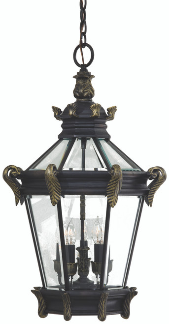 Minka Lavery Stratford Hall 5 Light Outdoor Chain Hung in Heritage With Gold Highlights Finish