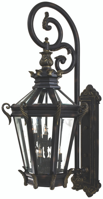Minka Lavery Stratford Hall 6 + 3 Light Outdoor Wall Mount in Heritage With Gold Highlights Finish