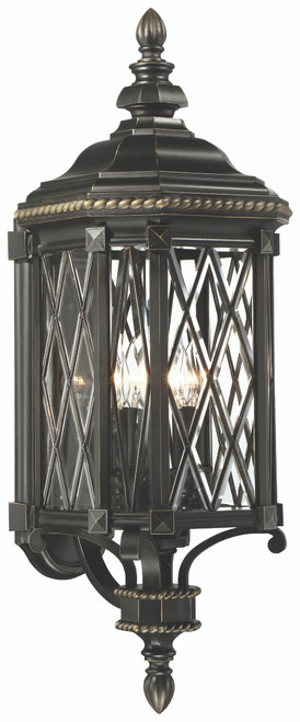Minka Lavery Bexley Manor 4 Light Outdoor Wall Mount in Coal With Gold Highlights Finish
