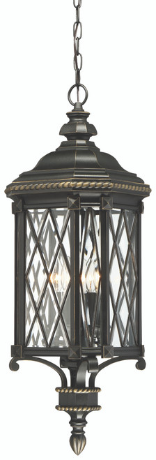 Minka Lavery Bexley Manor 4 Light Outdoor Chain Hung in Coal With Gold Highlights Finish