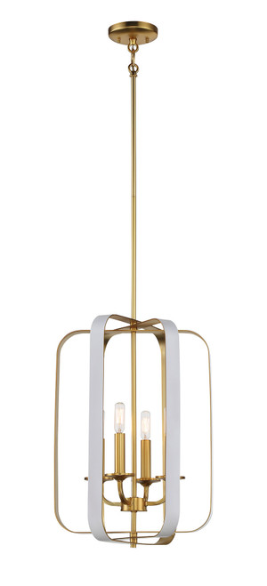 Minka Lavery 4 Light Pendant in Matte White With Honey Gold Finish