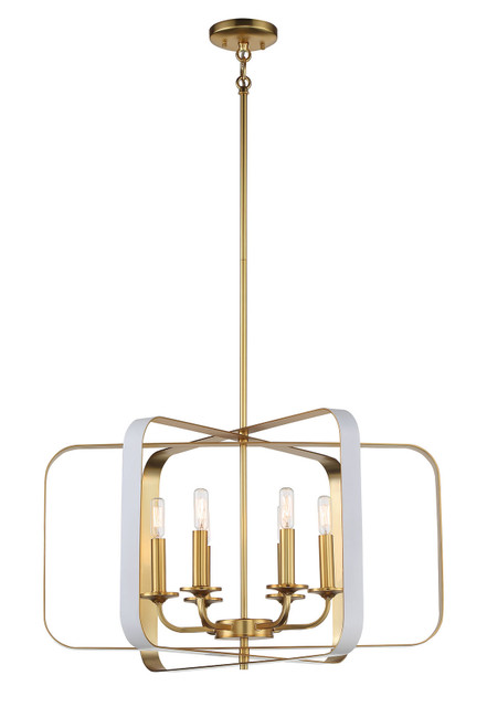 Minka Lavery Aureum 6 Light Pendant in Matte White With Honey Gold Finish