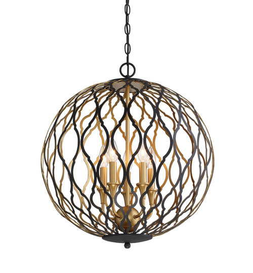 Minka Lavery 5 Light Pendant in Sand Coal With PaInterior And Pla Finish