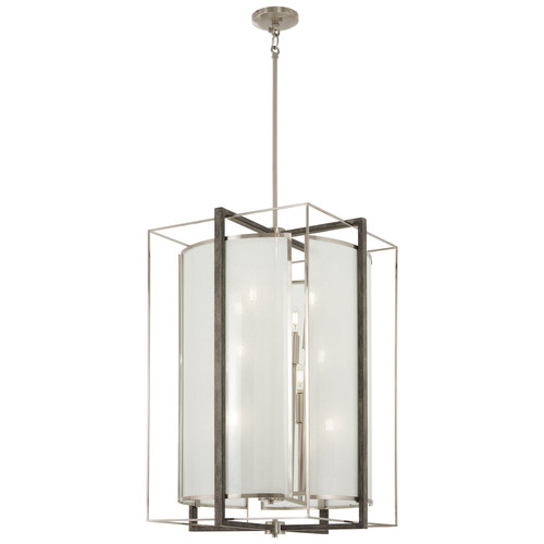 Minka Lavery Tyson'S Gate 12 Light Pendant in Brushed Nickel With Shale Wood Finish