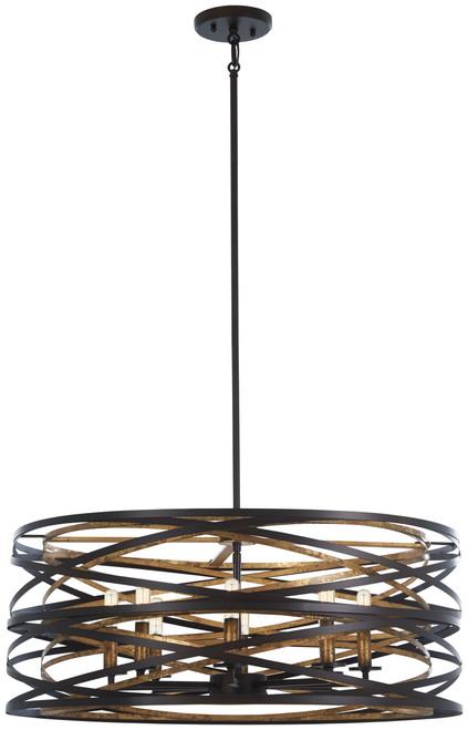 Minka Lavery Vortic Flow 8 Light Pendant in Dark Bronze With Mosaic Gold Interior  Finish