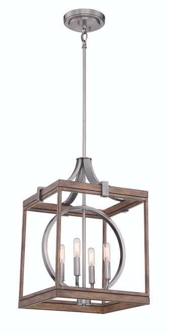 Minka Lavery Country Estates 4 Light Pendant in Sun Faded Wood With Brushed Nickel Finish