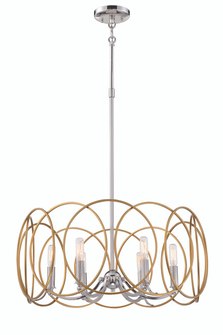 Minka Lavery Chassell 6 Light Chandelier in PaInterior Honey Gold With Polished Nickel Finish