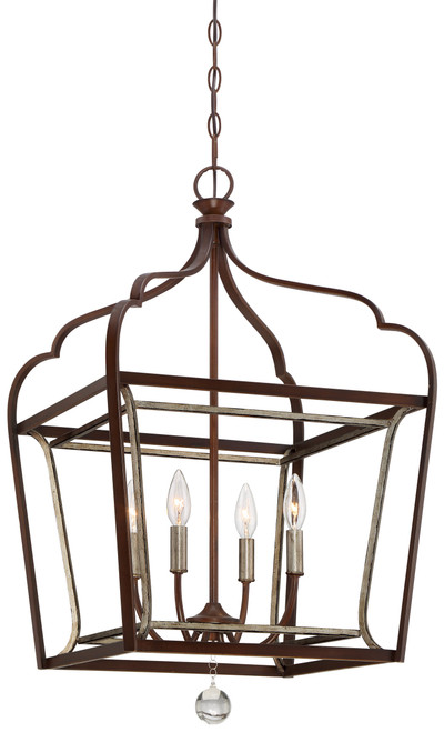 Minka Lavery Astrapia 4 Light Foyer Pendant in Dark Rubbed Sienna With Aged Silver Finish