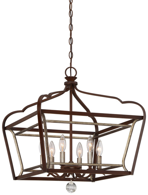 Minka Lavery Astrapia 6 Light Pendant in Dark Rubbed Sienna With Aged Silver Finish