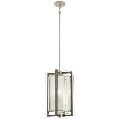 Minka Lavery Tyson'S Gate 4 Light Pendant in Brushed Nickel With Shale Wood Finish