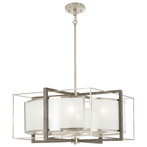 Minka Lavery Tyson'S Gate 6 Light Pendant in Brushed Nickel With Shale Wood Finish