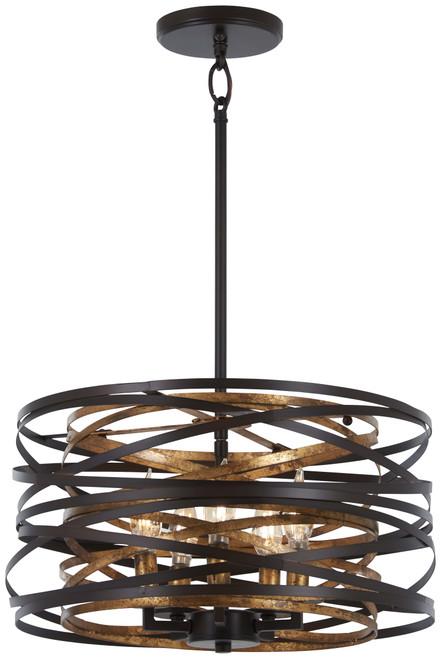 Minka Lavery Vortic Flow 5 Light Pendant(Convertible To Semi Flush) in Dark Bronze With Mosaic Gold Interior  Finish