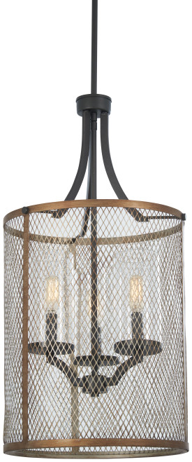 Minka Lavery Marsden Commons 3 Light Pendant in Smoked Iron With Aged Gold Finish