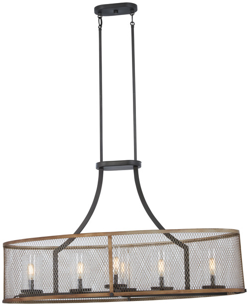 Minka Lavery Marsden Commons 6 Light Island in Smoked Iron With Aged Gold Finish