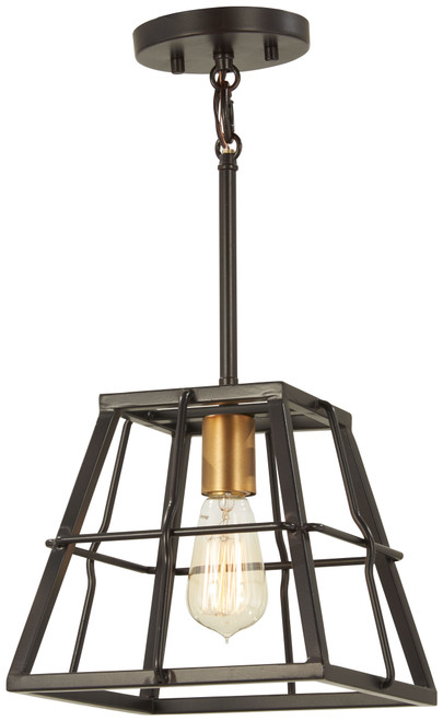 Minka Lavery Keeley Calle 1 Light Mini Pendant in PaInterior Bronze With Natural Brushed Brass Finish