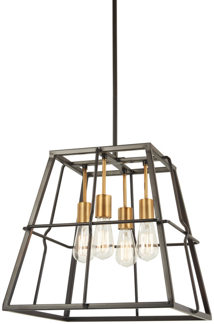 Minka Lavery Keeley Calle 4 Light Pendant in PaInterior Bronze With Natural Brushed Brass Finish