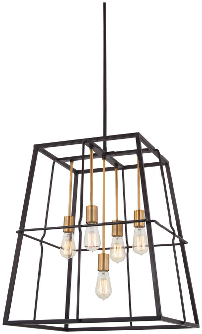 Minka Lavery Keeley Calle 5 Light Pendant in PaInterior Bronze With Natural Brushed Brass Finish