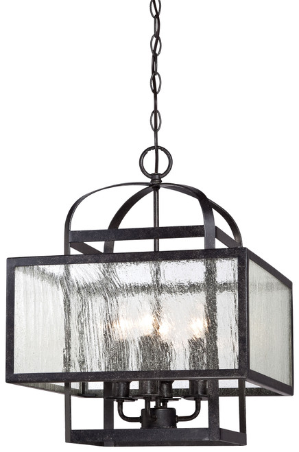 Minka Lavery Camden Square 4 Light Mini Chandelier in Aged Charcoal Finish