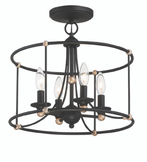 Minka Lavery 4 Light Semi Flush in Sand Coal with Skyline Gold Leaf Finish