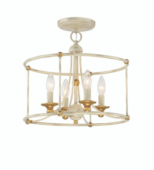 Minka Lavery 4 Light Semi Flush in Farmhouse White with Gilded Gold Leaf Finish