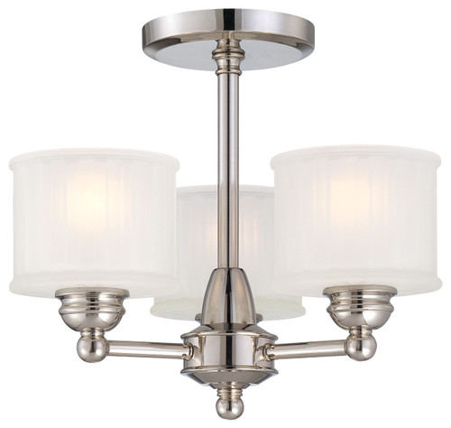 Minka Lavery 1730 Series 3 Light Semi Flush in Polished Nickel Finish