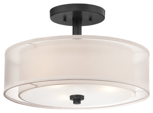 Minka Lavery Parsons Studio 3 Light Semi Flush in Sand Coal Finish