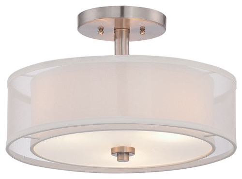 Minka Lavery Parsons Studio 3 Light Semi Flush in Brushed Nickel Finish