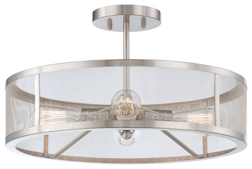 Minka Lavery Downtown Edison 4 Light Semi Flush in Brushed Nickel Finish