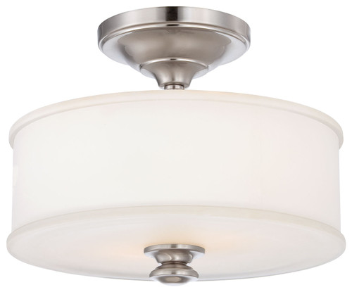 Minka Lavery Harbour Point 2 Light Semi Flush in Brushed Nickel Finish