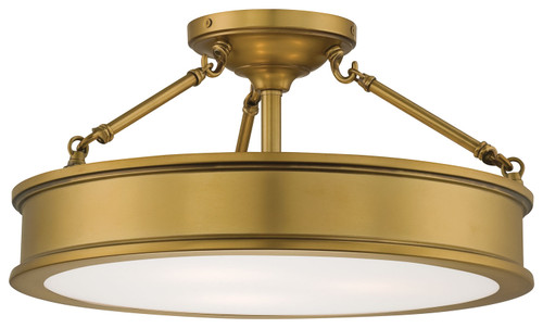 Minka Lavery Harbour Point Semi Flush in Liberty Gold Finish