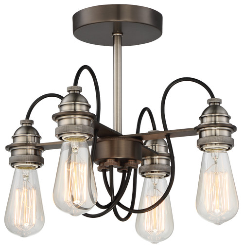 Minka Lavery Uptown Edison 4 Light Semi Flush (Convertible To Pendant) in Harvard Court Bronze With Pewter Finish