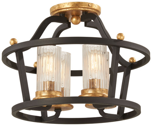 Minka Lavery Posh Horizon 4 Light Semi Flush in Sand Coal With Gold Leaf Finish