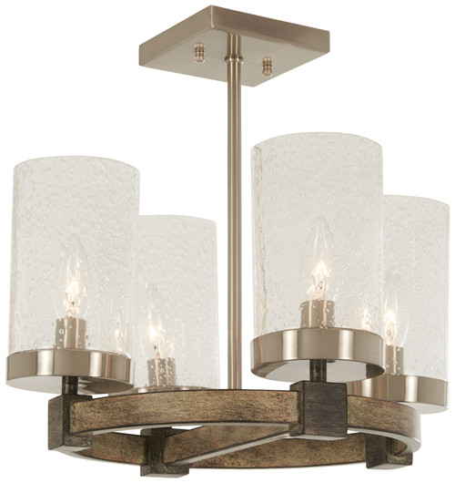 Minka Lavery Bridlewood 4 Light Semi Flush in Stone Grey With Brushed Nickel Finish