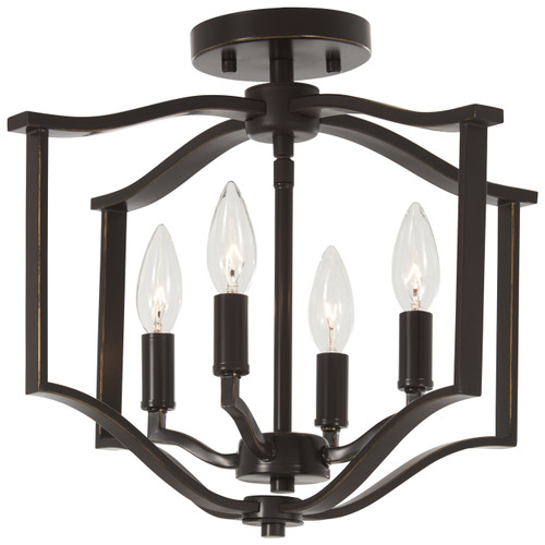 Minka Lavery Elyton 4 Light Semi Flush in Downton Bronze With Gold Highlights Finish