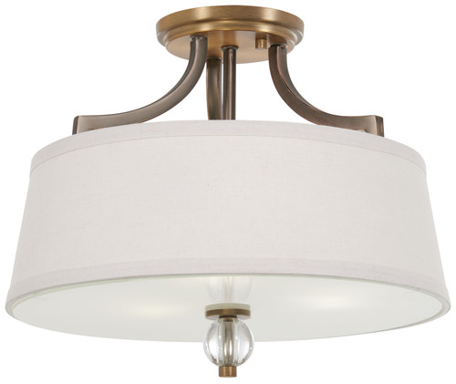 Minka Lavery Safra 3 Light Semi Flush in Harvard Court Bronze With Natural Brass Finish