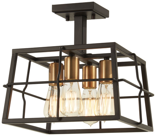 Minka Lavery Keeley Calle 4 Light Semi Flush in PaInterior Bronze With Natural Brushed Brass Finish