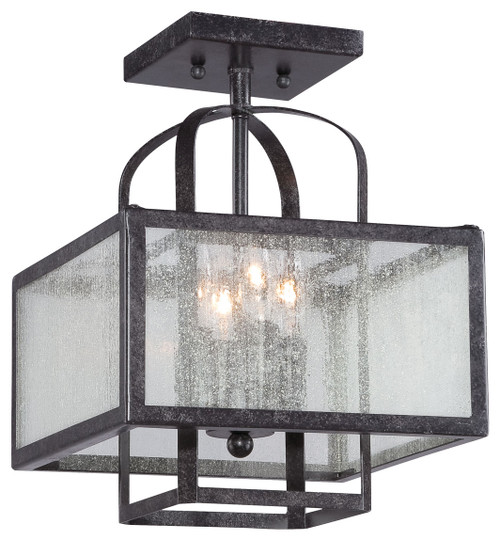 Minka Lavery Camden Sqaure 4 Light Semi Flush in Aged Charcoal Finish