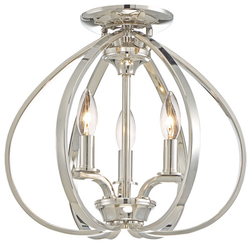Minka Lavery Tilbury 3 Light Semi Flush in Polished Nickel Finish
