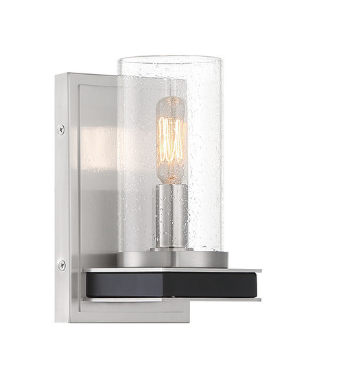Minka Lavery 1 Light Wall Sconce in Coal With Brushed Nickel Finish