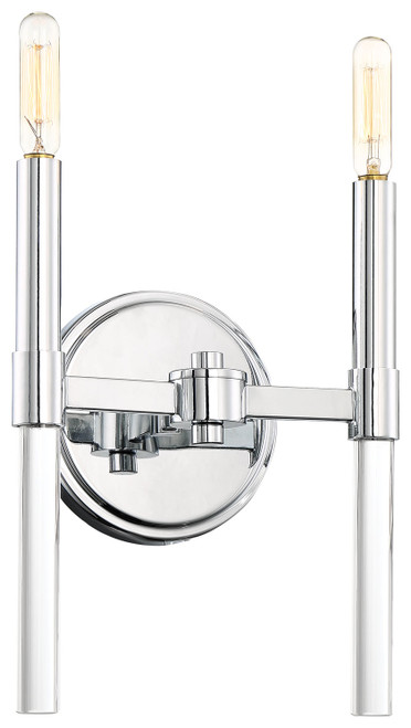 Minka Lavery Pillar 2 Light Wall Sconce in Chrome Finish