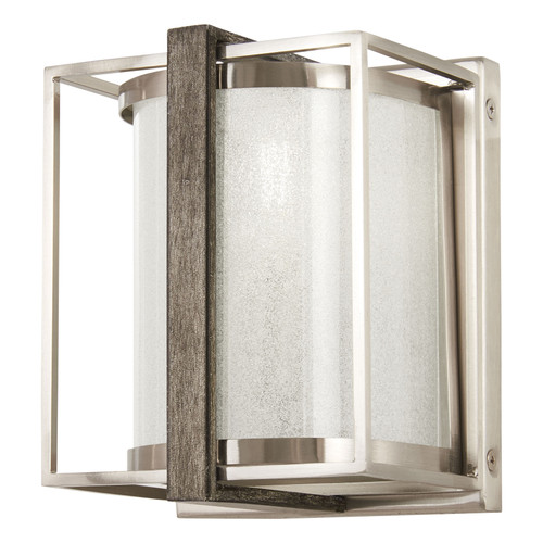 Minka Lavery Tyson'S Gate 1 Light Wall Sconce in Brushed Nickel With Shale Wood Finish