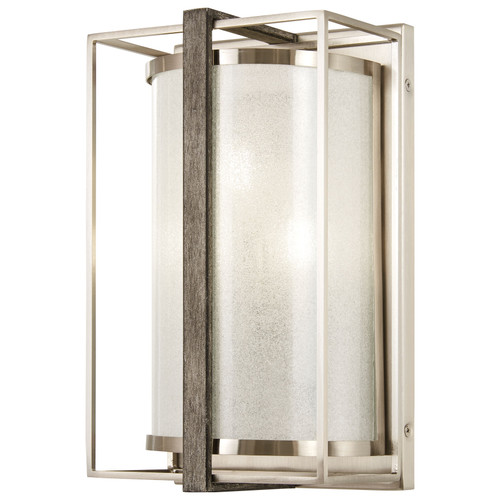 Minka Lavery Tyson'S Gate 3 Light Wall Sconce in Brushed Nickel With Shale Wood Finish