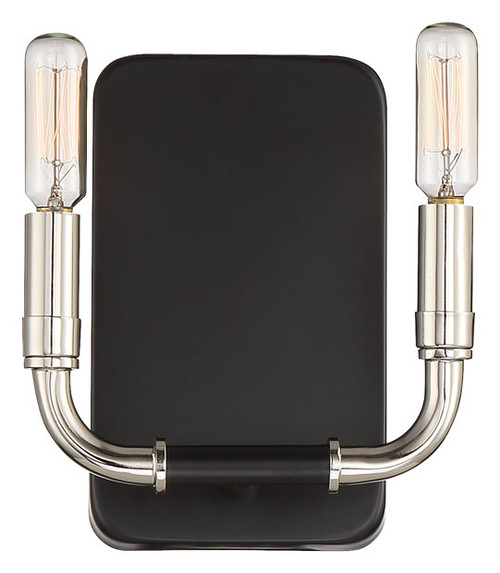 Minka Lavery Liege 2 Light Wall Sconce in Coal With Polished Nickel Highlights Finish