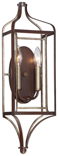 Minka Lavery Astrapia 2 Light Wall Sconce in Dark Rubbed Sienna With Aged Silver Finish