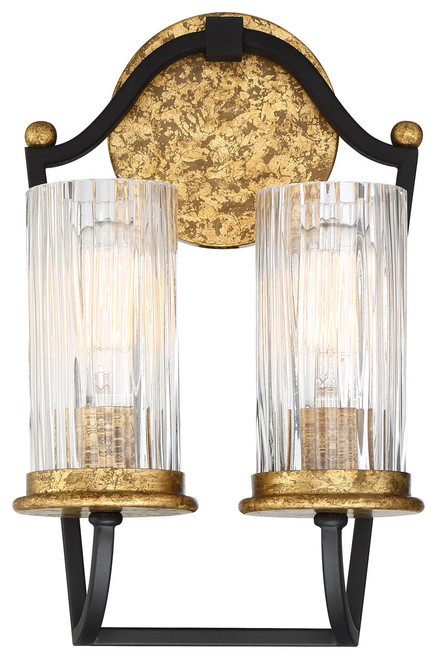 Minka Lavery Posh Horizon 2 Light Wall Sconce in Sand Coal With Gold Leaf Finish