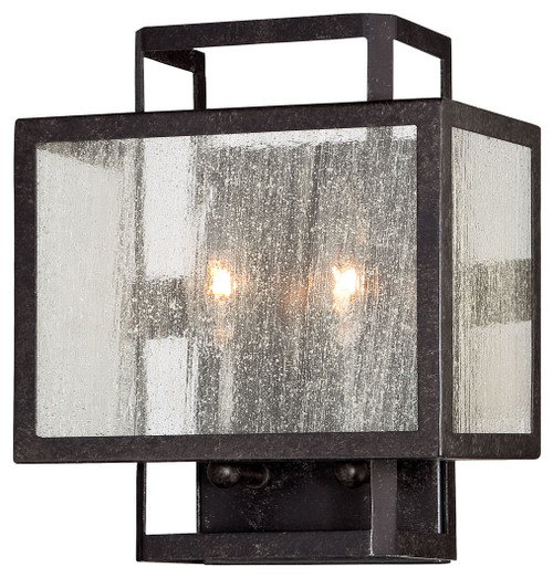 Minka Lavery Camden Square 2 Light Wall Sconce in Aged Charcoal Finish