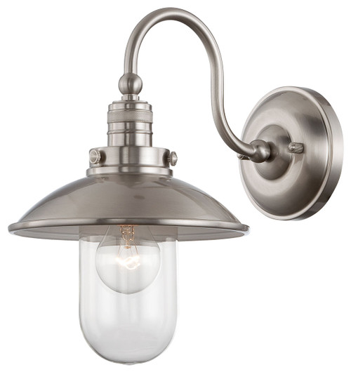 Minka Lavery Downtown Edison Wall Sconce in Brushed Nickel Finish