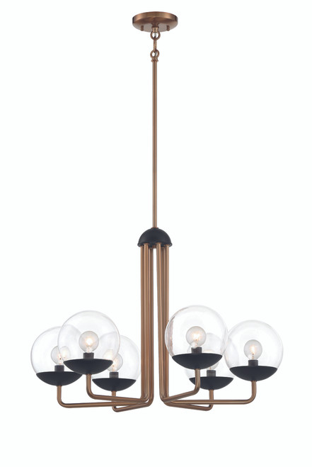 George Kovacs Outer Limits Collection 6 Light Chandelier in Painted Bronze Finish